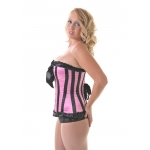 Candystripe Pink and Black Satin Corset**